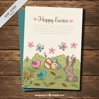 Pretty easter landscape vintage easter card with animals