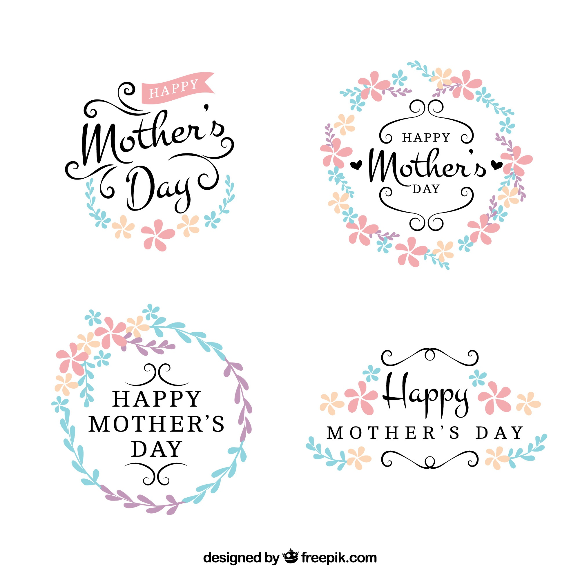Pretty floral mother day stickers