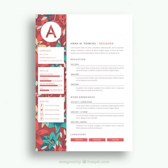 Pretty floral resume template