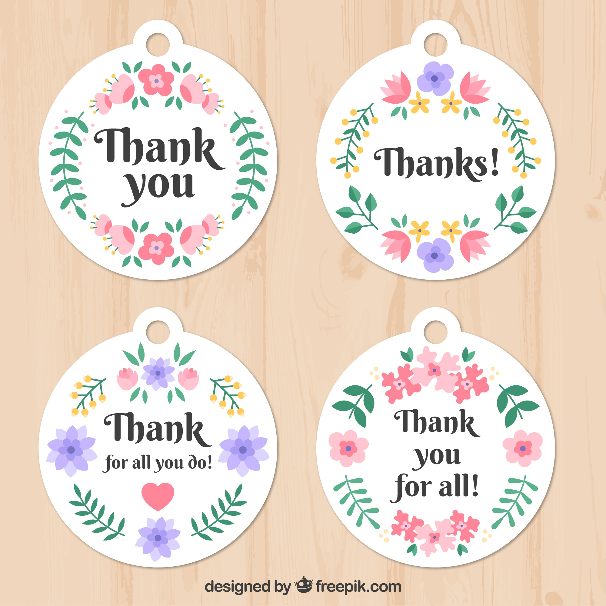 Pretty floral thank you stickers