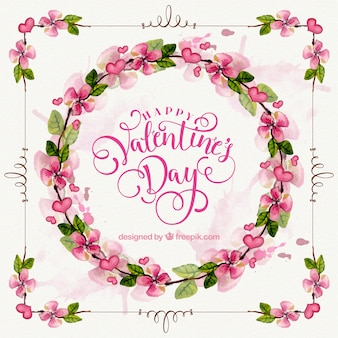 Pretty floral watercolor wreath for valentine