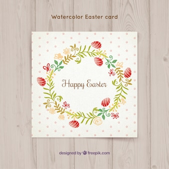 Pretty floral wreath card of Easter's day
