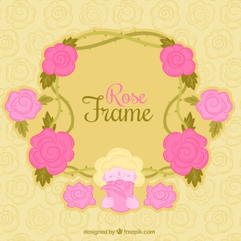 Pretty frame made of pink flowers