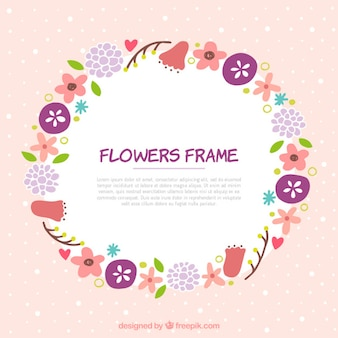 Pretty frame with hand drawn flowers and leaves