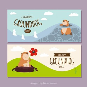 Pretty groundhog day banners