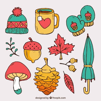 Pretty hand drawn autumn elements