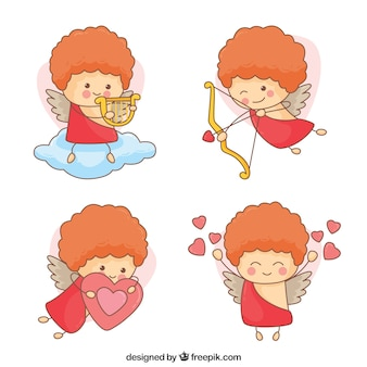 Pretty hand drawn cupids