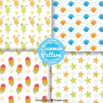 Pretty hand drawn summer patterns