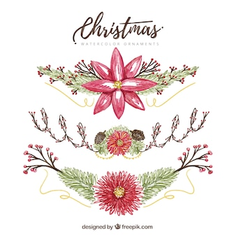 Pretty hand painted decorative christmas flowers
