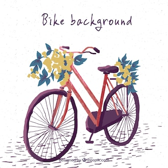 Pretty hand painted vintage bicycle background