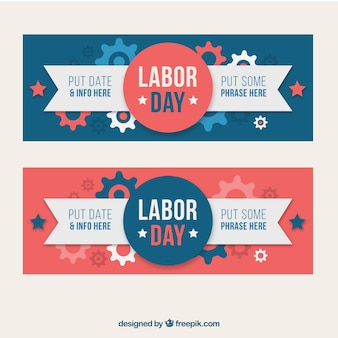 Pretty labor day banners in vintage style