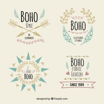 Pretty logotypes in boho style with elements