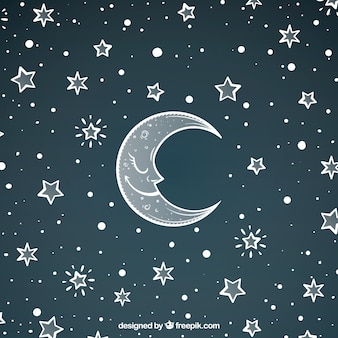 Pretty moon background and hand drawn stars