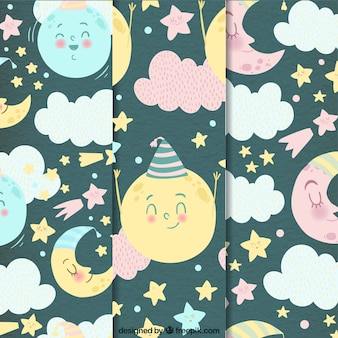Pretty moon patterns with stars and watercolor clouds