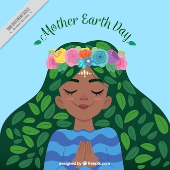 Pretty mother earth illustration background