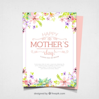 Pretty mother's day card with watercolor flowers