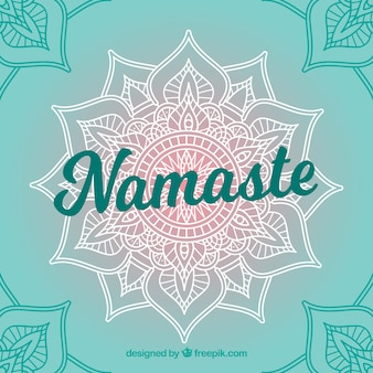 Pretty namaste background with hand drawn mandala