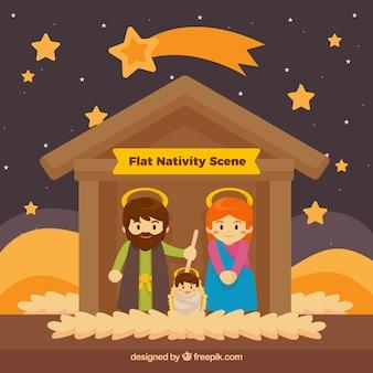 Pretty nativity scene with stars in flat design