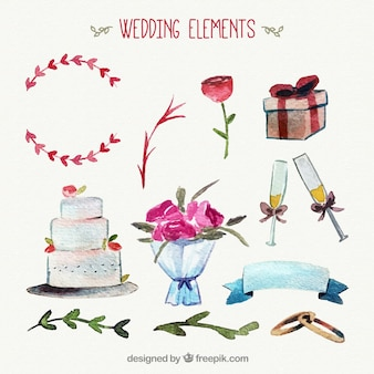 Pretty pack of wedding objects in watercolor style