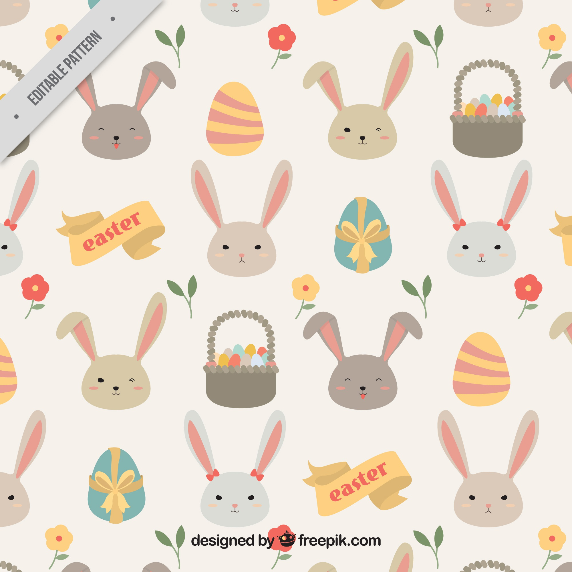 Pretty pattern of bunnies and easter eggs