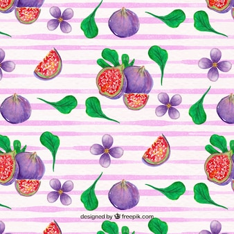 Pretty pattern of figs with watercolor leaves
