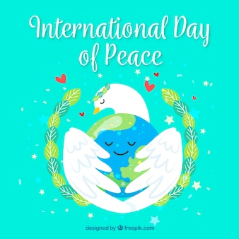 Pretty peace day background with pigeon hugging the world