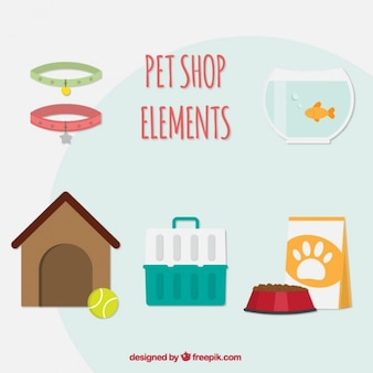 Pretty pet elements in flat design