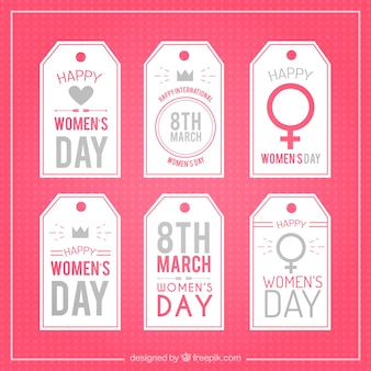Pretty pink women's day tag collection