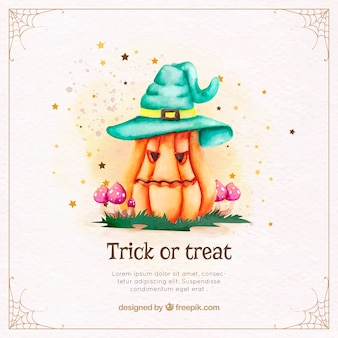 Pretty pumpkin background with watercolor halloween hat
