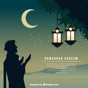 Pretty ramadan background with arabic silhouette