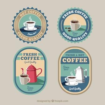 Pretty retro coffee stickers