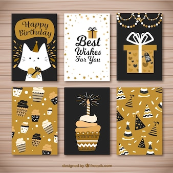 Pretty retro golden birthday cards