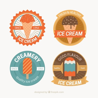 Pretty selection of colored badges with ice creams