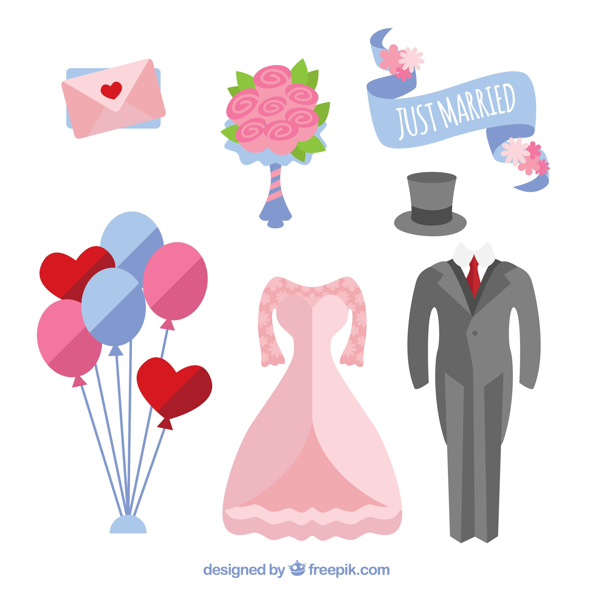 Pretty selection of flat wedding objects