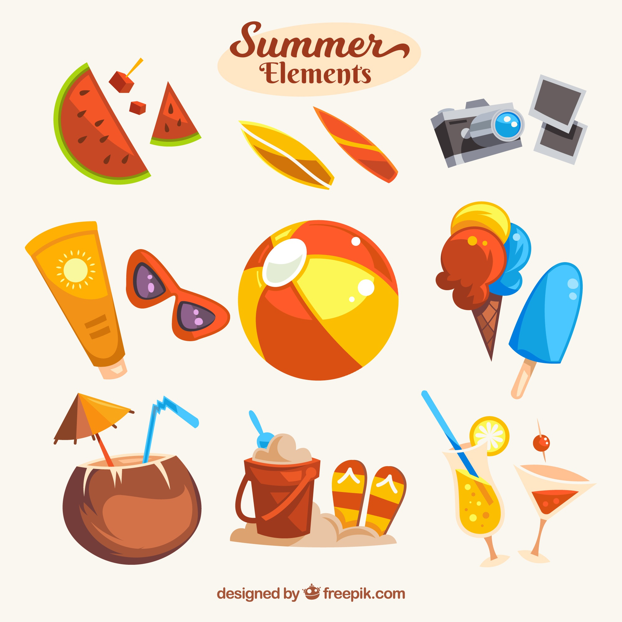 Pretty set of summer objects