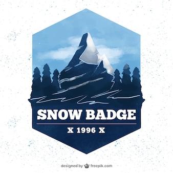 Pretty snowy watercolor landscape badge