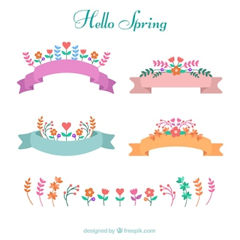 Pretty spring ribbons with colored flowers