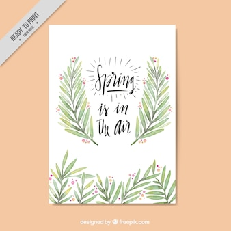 Pretty spring vintage card with watercolor leaves