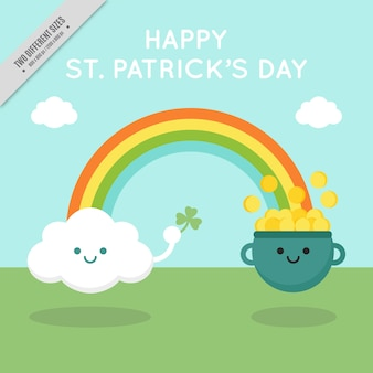 Pretty st patrick's day background with rainbow and smiling characters