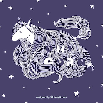 Pretty star background with unicorn illustration