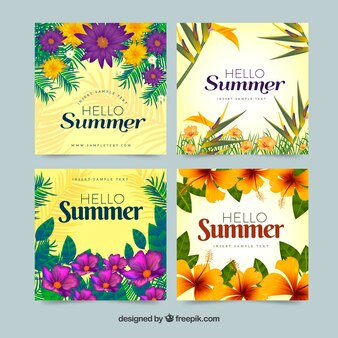 Pretty summer cards with flowers