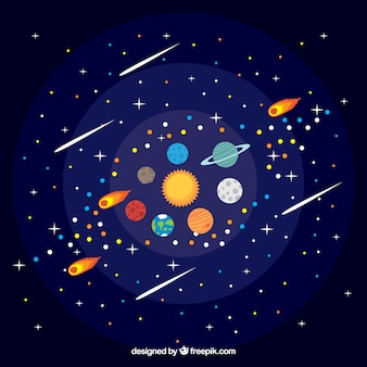 Pretty sun background with colorful planets