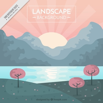 Pretty sunny landscape background with pastel tones