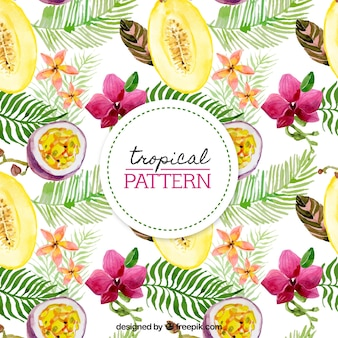 Pretty tropical watercolor pattern