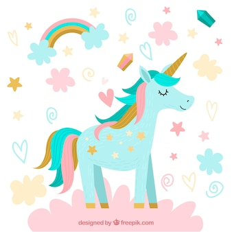 Pretty unicorn background with clouds and stars