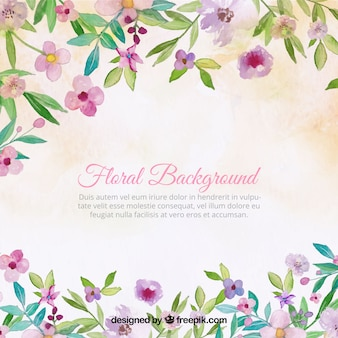 Pretty vintage background of watercolor flowers