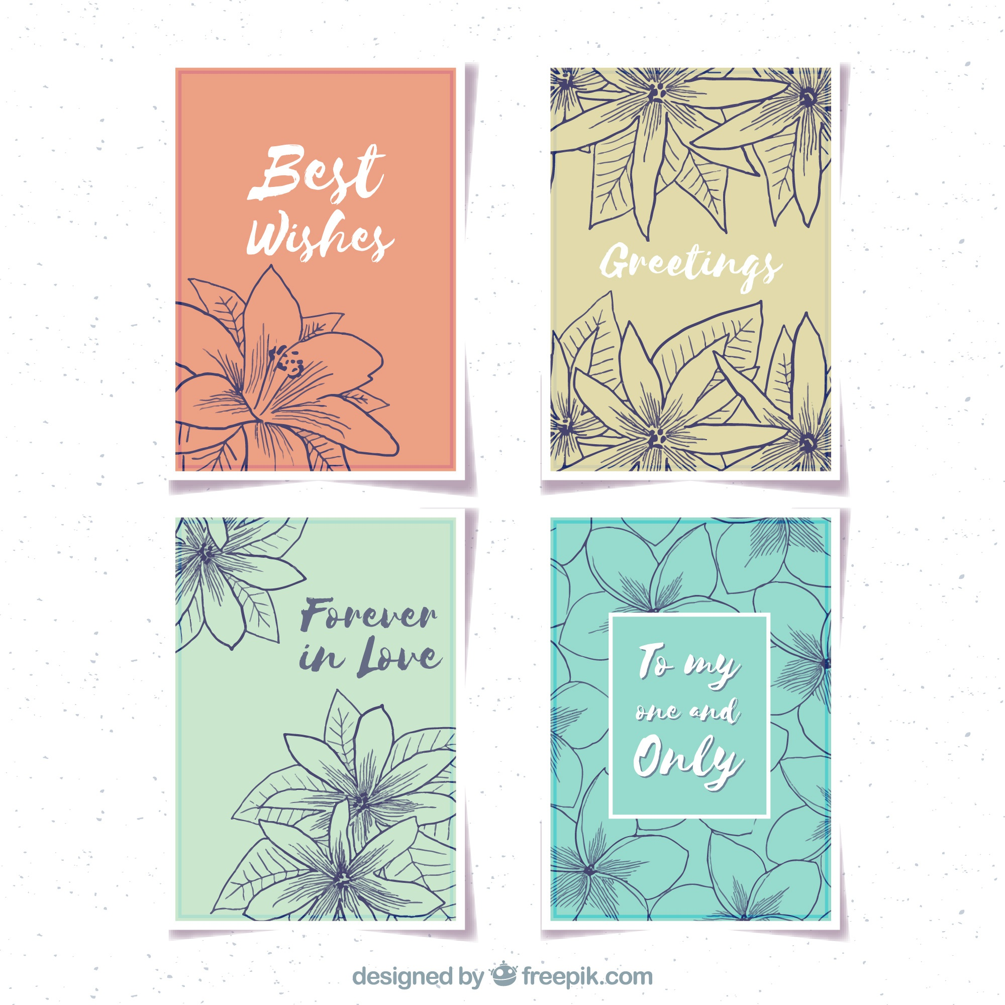Pretty vintage cards with jasmine sketches