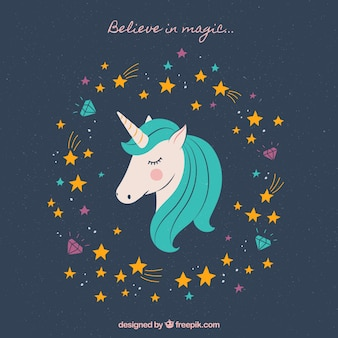 Pretty vintage hand drawn unicorn background with stars
