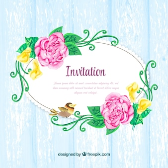 Pretty vintage invitation with watercolor flowers