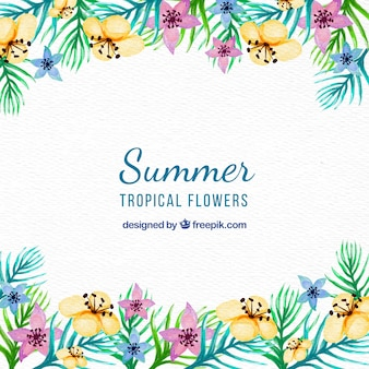 Pretty vintage watercolor flowers background for summer